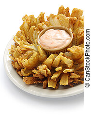 homemade blooming onion isolated on