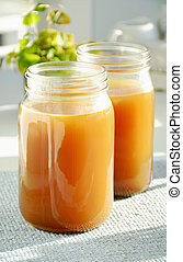 Homemade bone broth - Home made bone and vegetable broth in ...