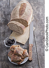 homemade bread and scones with olives