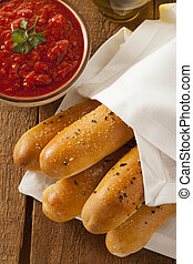 Homemade Bread Sticks with Marinera Sauce and Italian Spices