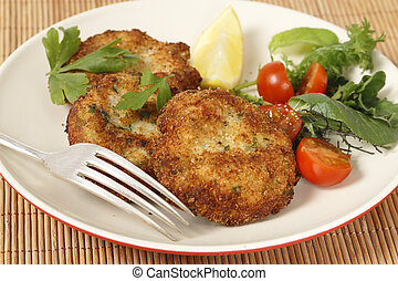 Homemade breaded fishcakes with a salad - Easy to make...