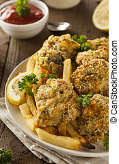 Homemade Breaded Fried Oysters with French Fries