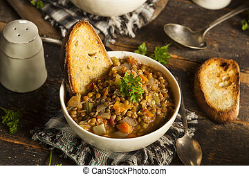 Homemade Brown Lentil Soup with Carrots Onions and Tomatos