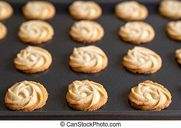 Homemade butter cookies in baking pan