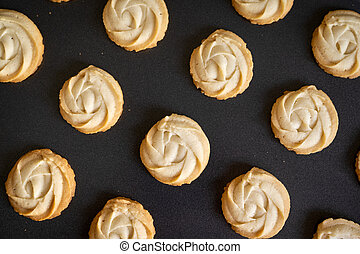 Homemade butter cookies in baking tray