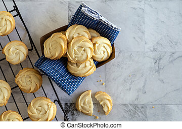 Homemade butter cookies in paper basket