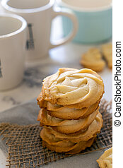 Homemade butter cookies in stack