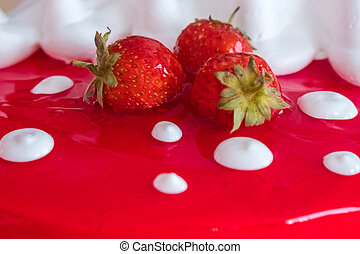 Homemade cake made from cream with strawberries
