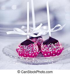 Homemade Cake Pops - Home made chocolate cake pop decorated...