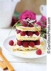 homemade cake with fresh raspberries