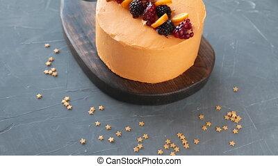 Homemade cake with fresh summer berries