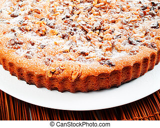 Homemade cake with nuts
