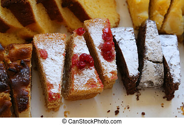 homemade cake with red currants and sugar