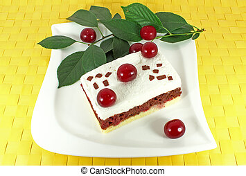Homemade cake with sour cherries