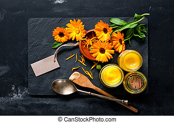 Homemade calendula ointment and oil