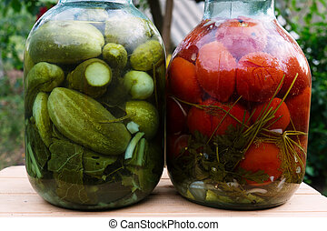 Homemade Canned tomatoes and cucumbers