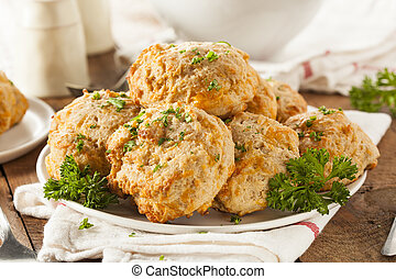 Homemade Cheddar Cheese Biscuits with Parsley