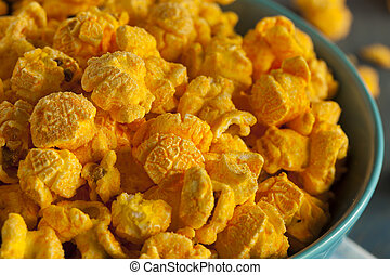 Homemade Cheddar Cheese Popcorn in a Bowl