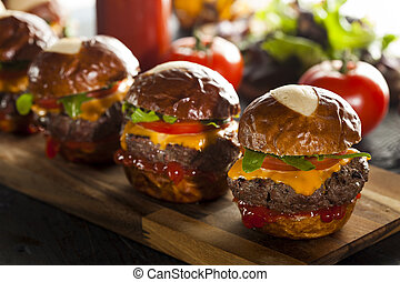 Homemade Cheeseburger Sliders with Lettuce Tomato and Cheese