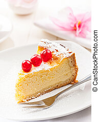 Homemade Cheesecake decorated with sweet cherries