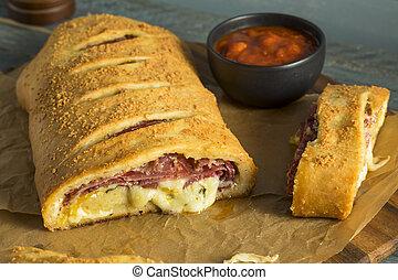 Homemade Cheesy and Meaty Italian Stromboli with Marinara ...