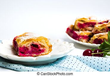 Homemade cherry sweet pie slices on a plate