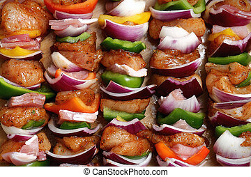 Homemade chicken skewers kebabs