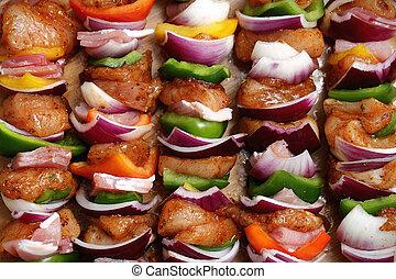 Homemade chicken skewers kebabs