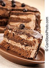 Homemade chocolate cake close-up