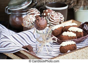 Homemade chocolate cake pops - candy sticks