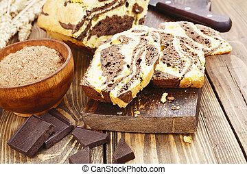 Homemade chocolate cake Zebra