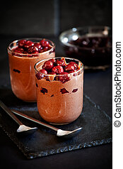 Homemade Chocolate Mousse In Pots