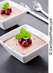 Homemade Chocolate Mousse With Cherries