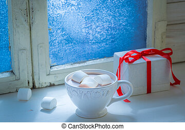 Homemade Christmas chocolate with marshmallows