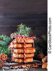 Homemade Christmas cookie with decoration
