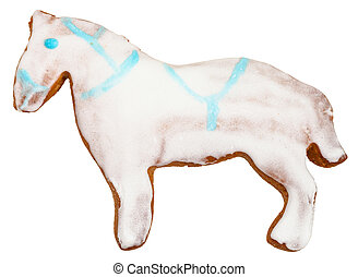 horse figure cookie isolated on white