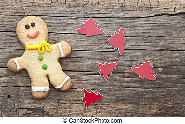 homemade christmas painted gingerbreads (gingerbread man and red