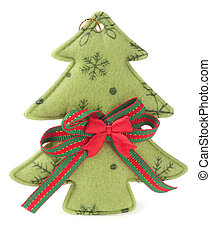homemade Christmas tree made of cloth isolated on a white background