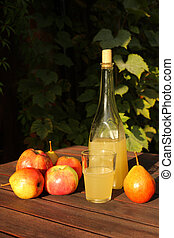 homemade cider from apple juice, autumn garden