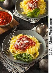 Homemade Cooked Spaghetti Squash Pasta with Marinara Sauce