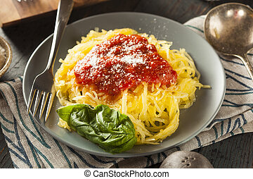 Homemade Cooked Spaghetti Squash Pasta with Marinara Sauce