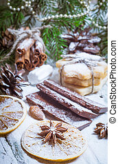 Homemade cookies, dried oranges, anise stars