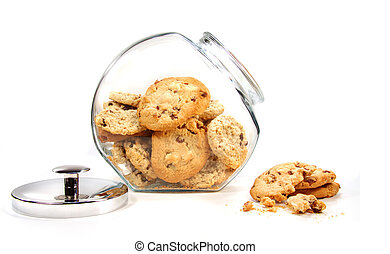 Homemade cookies in glass jar on white background