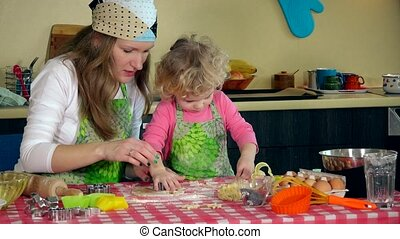 Homemade cookies made by happy woman with daughter on the...