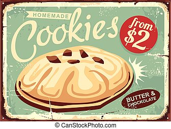 Homemade cookies retro worn sign design. Butter cookie on old vintage sign. Food bakery biscuit vector illustration.