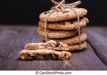 cookies - homemade cookies with bow on a wooden table