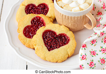 Homemade Cookies with Heart-Shaped Center and a Cup of Hot Chocolate