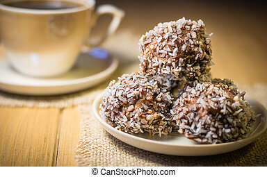 Homemade cookies with peanuts, coconut and cocoa.