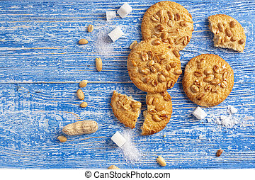 homemade cookies with peanuts on the table