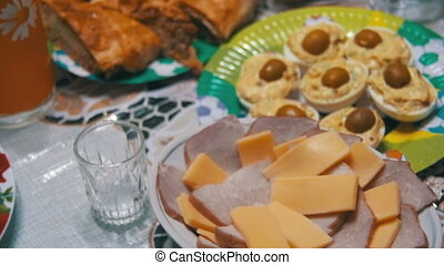 Homemade Cooking Food on the Table. Homemade dishes with...